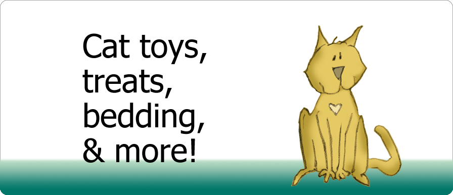 Cat toys, treats, bedding, and more