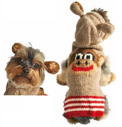 Chilly Dog Monkey Wool Hoodie Dog Sweater