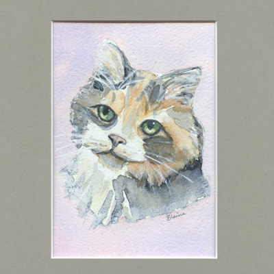 Hand Painted Watercolor Matted Framed Pet Portrait