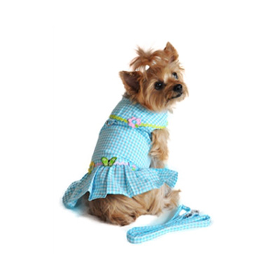 Doggie Design Cotton Blue Gingham Dress for Dogs