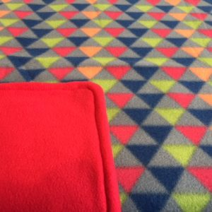 Buddy Blanket Reversible Fleece Red Geometric