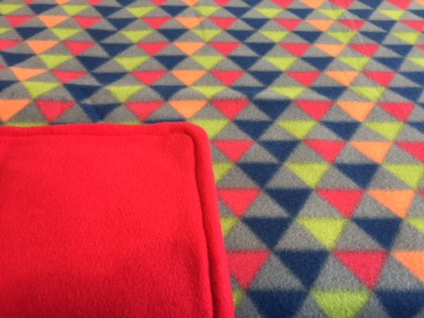 Buddy Blanket Reversible Fleece Red Geometric