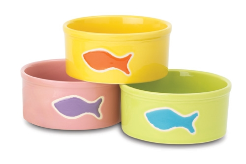 Petrageous Teeny Tiny Fish Round Cat Bowl