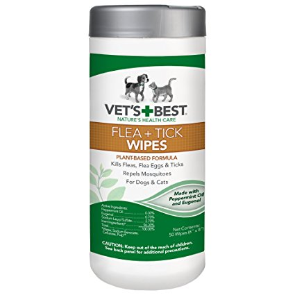 Vets Best Multiple Pet Natural Flea Tick Wipes