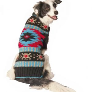 Chilly Dog Black Southwestern Shawl Dog Sweater