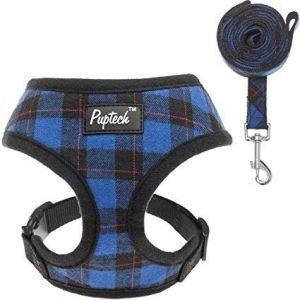 Puptech Soft Mesh Dog Blue Plaid Harness
