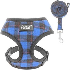 Puptech Soft Mesh Dog Blue Plaid Harness