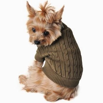 Doggie Design Moss Green Combed Cotton Cable Knit Dog Sweater