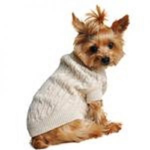 Doggie Design Oatmeal Combed Cotton Cable Knit Dog Sweater